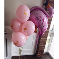 Букет из шариков с гелием Розовый фламинго