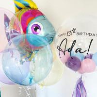 Композиция из гелиевых шариков Рыбка с шарами-баблс на День Рождения