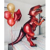 Композиция из гелиевых шаров с Динозавром в красных тонах