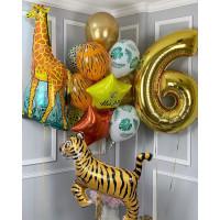 Композиция из гелевых шариков на День Рождения с Жирафом и Тигром