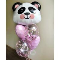 Фонтан из шаров Панда с сердцами