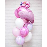Букет из гелевых шариков с фламинго в нежно-розовых тонах