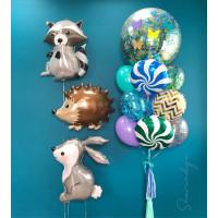 Композиция из шаров с животными Зайкой, Ежиком и Енотом