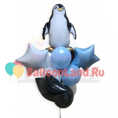 Букет из гелиевых шаров пингвин со звездами