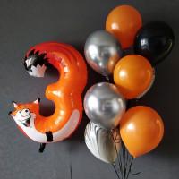 Композиция из воздушных шариков с цифрой три Лисенок
