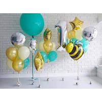 Композиция из гелиевых шаров на первый День Рождения с Пчелкой и Большим шаром