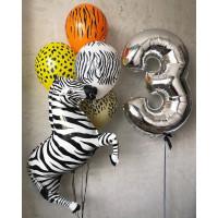 Композиция из гелиевых шариков на День Рождения с цифрой и Зеброй