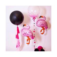 Композиция из гелиевых шариков фламинго с большими шарами