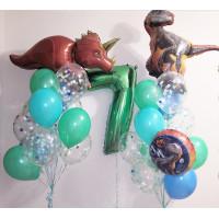 Композиция из шариков Динозавры с цифрой