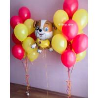 Композиция из шаров с гелием со Щенком с желтыми и красными
