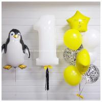 Композиция из гелевых шаров на День Рождения с пингвином и цифрой
