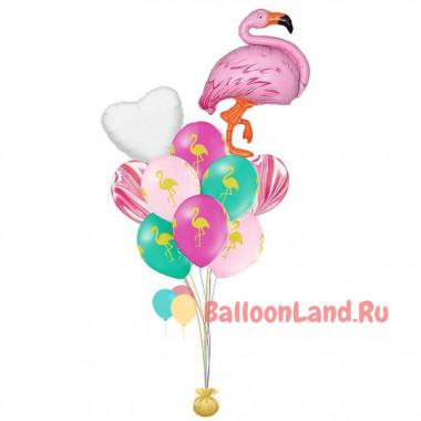 Букет шариков фламинго и сердцем