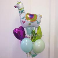 Букет гелевых шариков Лама с сердцем и звездой