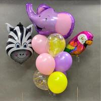 Композиция из гелиевых шариков с попугаем, зеброй и слоником