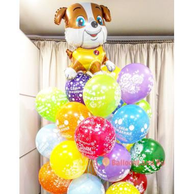 Букет воздушных шаров на день рождения со щенком
