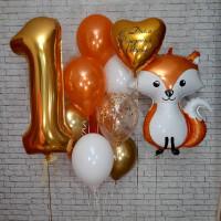 Композиция из гелевых шаров на день Рождения с цифрой ,Лисичкой и сердцем с вашими пожеланиями