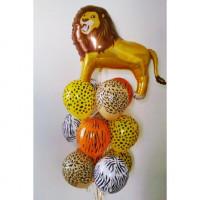 Букет гелиевых шаров Лев в джунглях