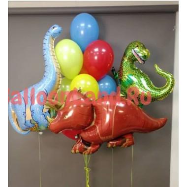 Композиция из гелиевых шаров с разноцветными динозаврами