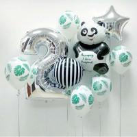 Композиция из шариков на День Рождения Панда, в тропических листьях