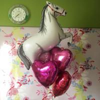 Букет из гелевых шаров Лошадка с сердцами