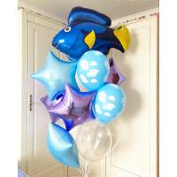 Букет шаров с гелием с Синей Рыбкой и звездами