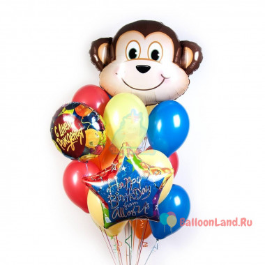 Букет шаров на День Рождения с обезьянкой