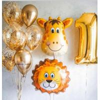 Набор шариков со Львом и Жирафом на первый день Рождения