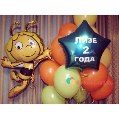 Букет из гелевых шариков Пчелка Майа со звездой с вашими поздравлениями