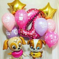 Композиция из воздушных шариков на День рождения девочке со щенками и цифрой