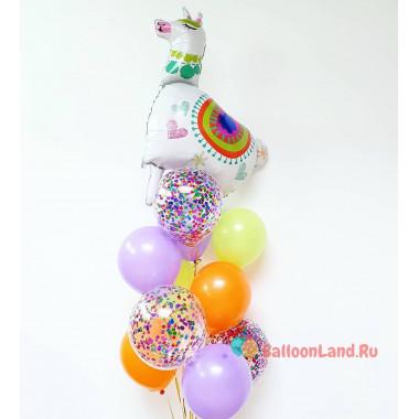 Букет из шариков с Ламой и шарами с конфетти
