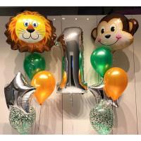 Композиция из гелевых шариков на Первый День Рождения с обезьянкой и львенком