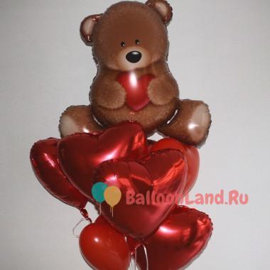 Букет из гелевых шаров Мишка с сердцами