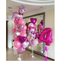 Композиция из шаров с кошечкой ,пони Пинки Пай и цифрой