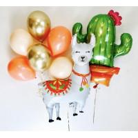 Композиция из воздушных шариков Лама с кактусом