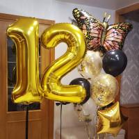 Композиция из шаров бабочка Монарх с цифрами
