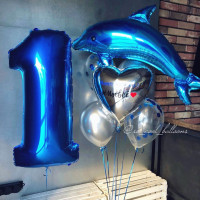Композиция из воздушных шариков на День Рождения с Дельфином, цифрой и сердцем