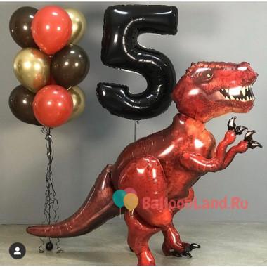 Композиция из гелиевых шаров с ходячей фигурой Динозавра с цифрой
