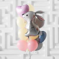Букет из воздушных шариков Зайка Серенький с сердцами
