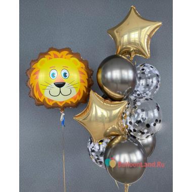 Композиция из шариков с гелием Лев с золотыми звездами