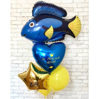 Букет из шариков с Синей Рыбкой, звездой и сердцем с вашими поздравлениями