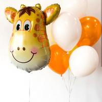 Композиция из шариков с Жирафом в бело-оранжевых тонах