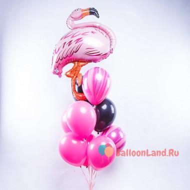 Букет из шариков с фламинго и шарами агатами
