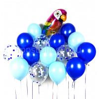 Сет из шариков с попугаем Ара в сине-голубой гамме