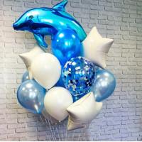 Композиция из гелиевых шаров Дельфин со звездами