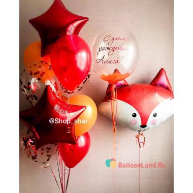 Композиция из воздушных шаров с Лисичкой, шаром с перьями и звездами