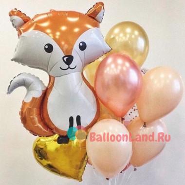Букет гелевых шариков с Лисенком и сердцем