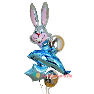 Букет шариков с Зайкой и Дельфином