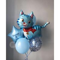 Букет шаров с гелием для мальчика с котенком