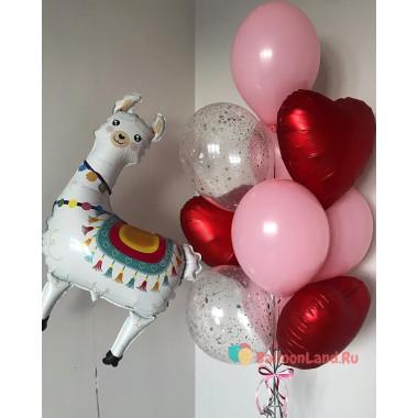 Композиция из воздушных шаров Лама с красными сердцами