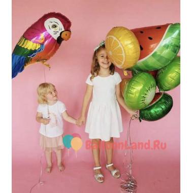 Композиция из воздушных шаров попугай с фруктами